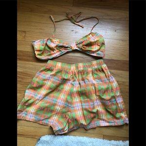 90's Matching high waisted shorts & bikiniTop Set